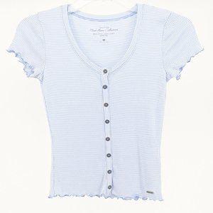 Hollister Stiped Short Sleeve Henley Top Shirt